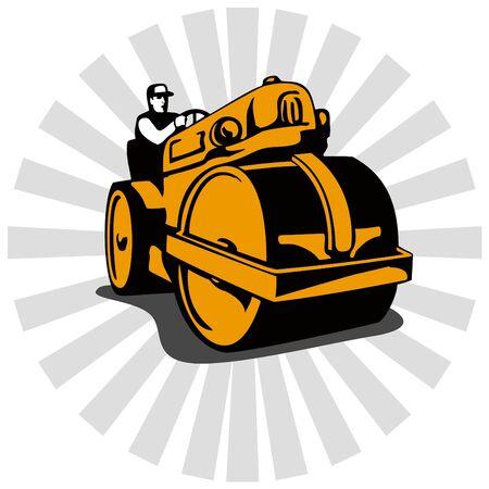 roadworks: Road roller retro style