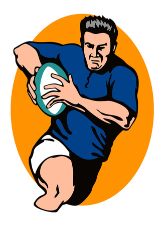 ballon de rugby: Joueur de rugby qui fonctionne avec la balle  Illustration