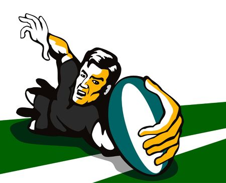 try: Rugby player scoring a try Illustration