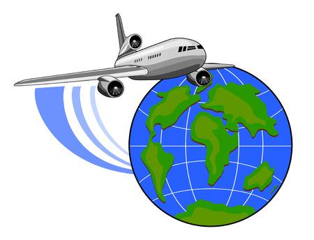 aerei: Getto aereo volare alto con il globo Vettoriali