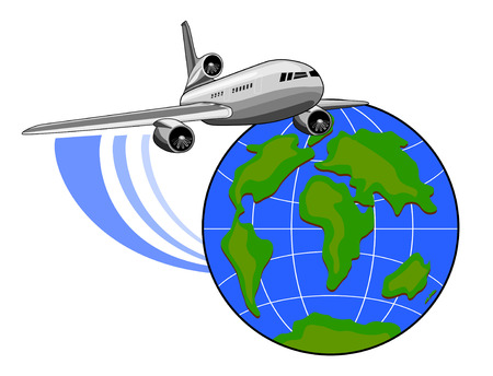 airplane engine: Jet plane flying up with globe