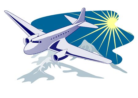 Airliner flying over mountains Vector