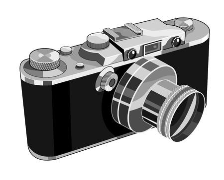 viewfinder vintage: Retro styled SLR camera Illustration