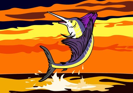 Sailfish jumping Vector