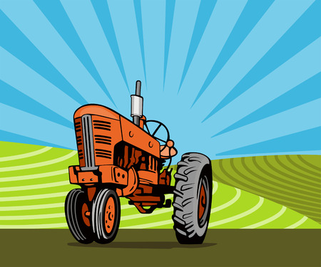 Tractor in the fields Vector