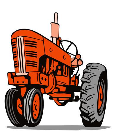 Orange tractor Vector