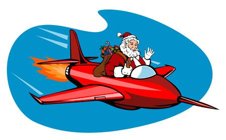 saint nicholas: Santa volaba un avi�n  Vectores