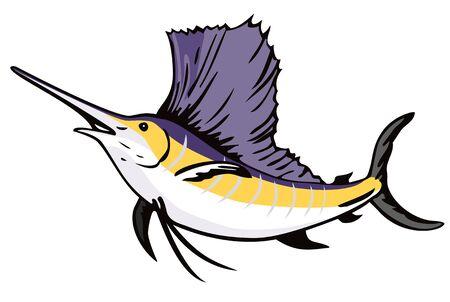 pez vela: Pez vela saltar delante  Vectores