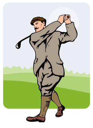 1930 年代のゴルファーのスイングをのんで