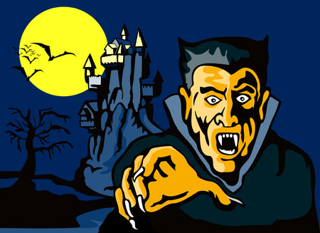 vlad: Count Dracula with castle in the background