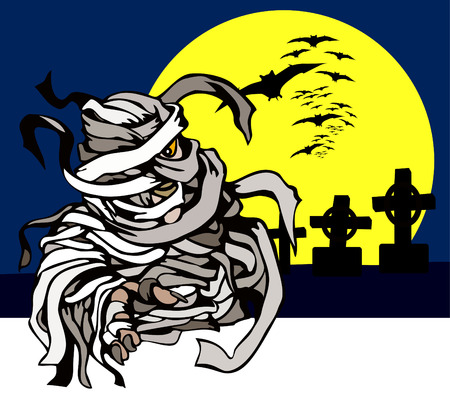 Mummy in a cemetery Vector