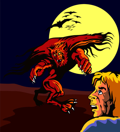 attacking: Hombre lobo que ataca a un tipo asustado