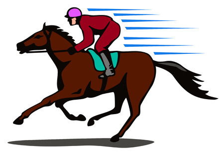 Horse and jockey on a winning run Illustration