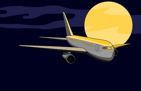 Jumbo juet plane flying night moon Vector