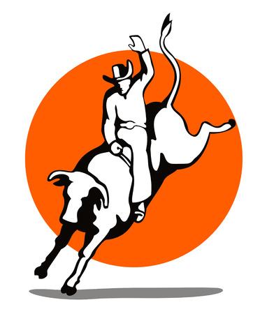 Cowboy rijden een stier  Stock Illustratie