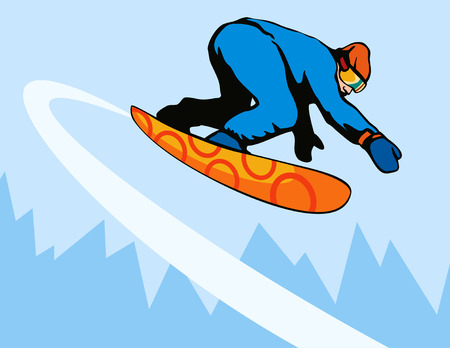 Snowboarding with mountains Vector