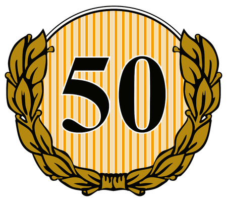 Number fifty with laurel leaves Vector
