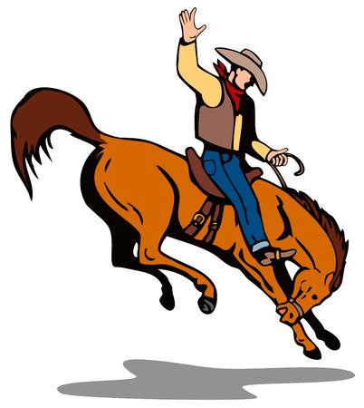 rodeo americano: Rodeo cowboy montando una bucking bronco  Vectores