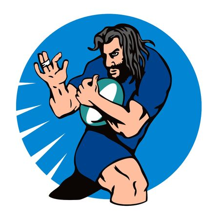 run off: Rugby player fending off Illustration