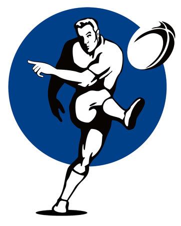 ballon de rugby: Rugbyman coups de pied le ballon  Illustration