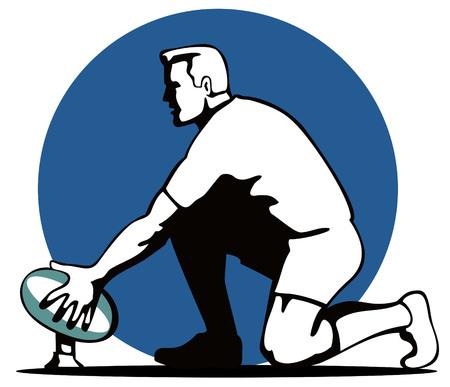 arrodillarse: El jugador de rugby objetivo la preparaci�n de una patada  Vectores