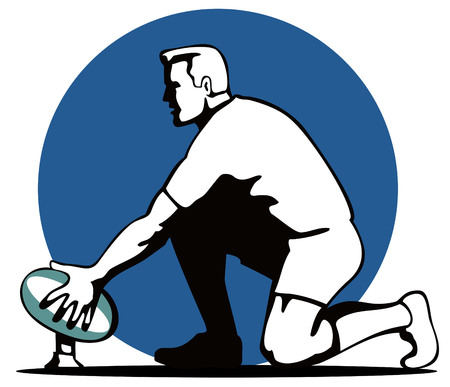 Rugby player preparing a goal kick Stock Vector - 1729486