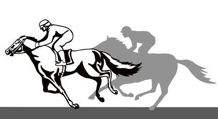 cavallo in corsa: Cavallo e il fantino vincente eseguire  Vettoriali