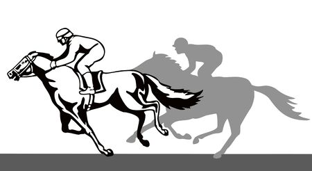 thoroughbred horse: Horse and jockey on a winning run Illustration