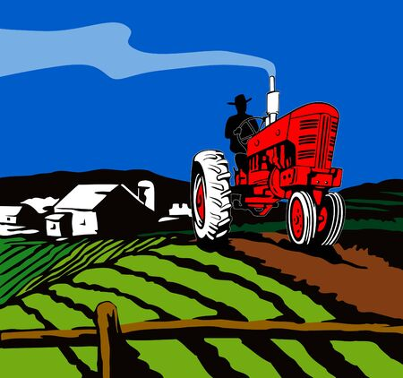 Tractor plowing the farm Vector