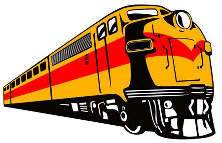 locomotora: Retro estilo de tren  Vectores