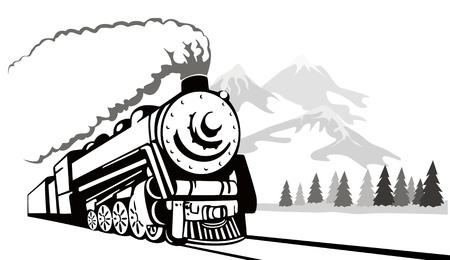 Vintage steam train travelling in the winter