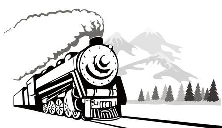 Vintage tren de vapor que viajaban en el invierno  Ilustración de vector