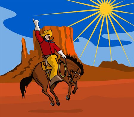 bucking horse: Rodeo cowboy riding a bucking bronco Illustration