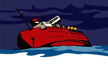 Ship sinking Vector