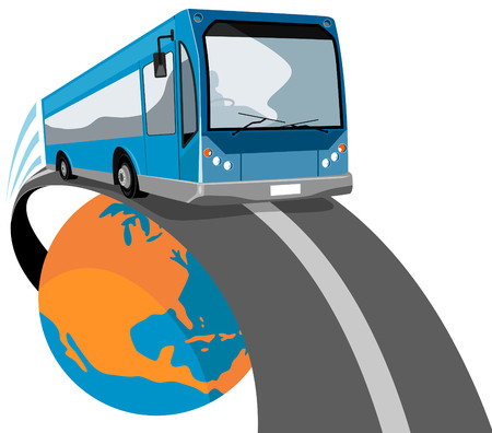 Bus traveling off the globe Illustration