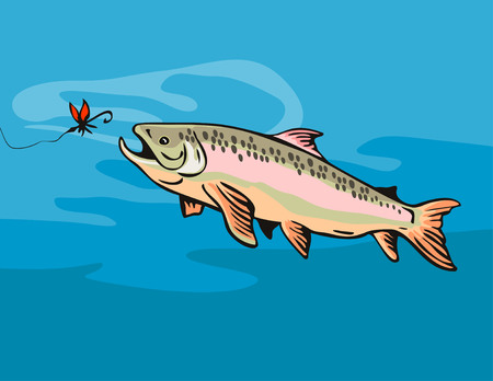 salmon fishing: Trout going for the bait Illustration