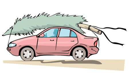 sideview: Car sideview with christmas tree on roof Illustration