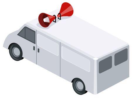 Van with speakers Vector