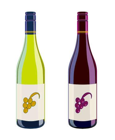 blanc: Blanco y vino tinto  Vectores