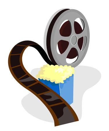 movie film reel: Carrete de pel�cula de cine con palomitas de ma�z  Vectores