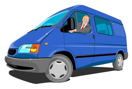 delivery van: Man driving a blue delivery van