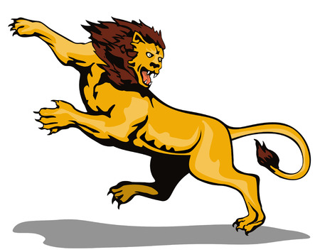 attacking: Lion attacking