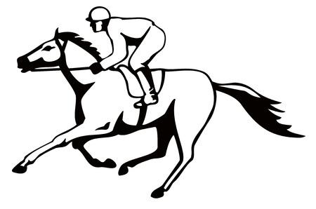 cavallo in corsa: Cavallo e fantino su un percorso vincente Vettoriali