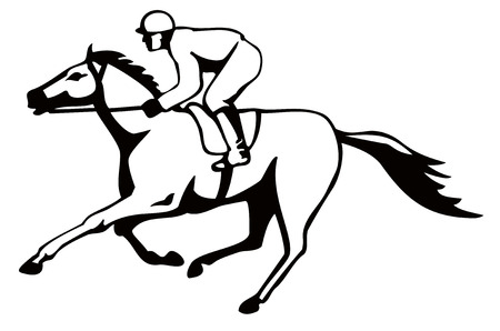 horse running: Horse and jockey on a winning run Illustration