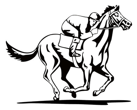 thoroughbred horse: Horse and jockey Illustration