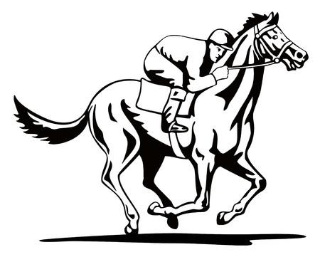 white horse: Horse and jockey Illustration