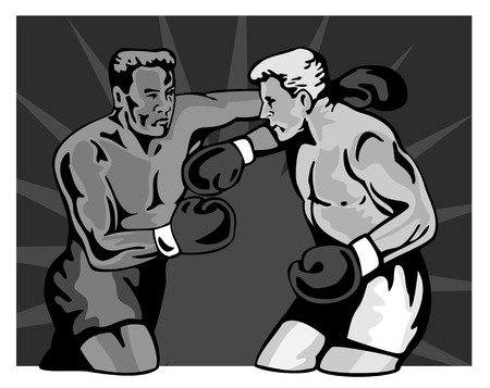 knockdown: Two boxers slugging it out Illustration