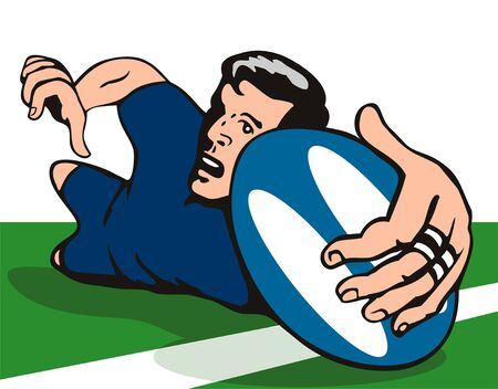 Rugby player scoring a try on turf Vector