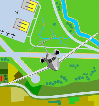 supersonic: Airplane taking off from airfield Illustration