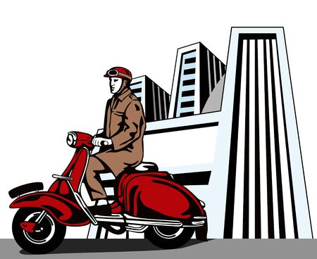 vespa: Man riding a scooter with buildings Illustration